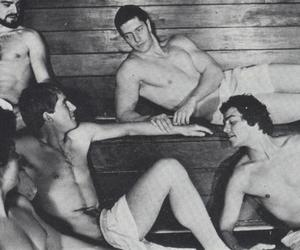 black and white, gay, and orgy image