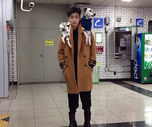 asian boy and dog image