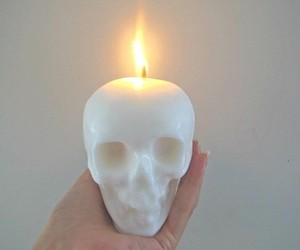 skull, candle, and white image