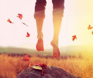 jump, autumn, and feet image