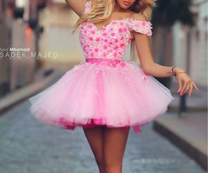 pink, dress, and blonde image