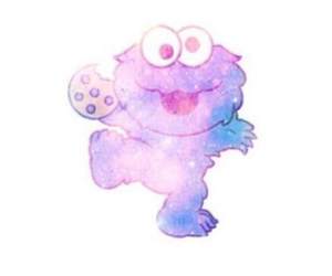 cookie monster, galaxy, and cookie image