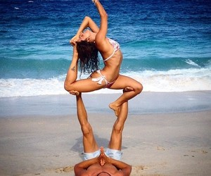 beach, couple, and fitness image