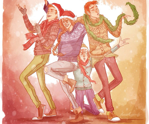 harry potter, weasley, and christmas image