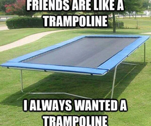 friends, trampoline, and funny image
