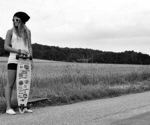 girl, skate, and longboard image