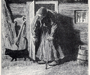 black cat, old woman, and crone image