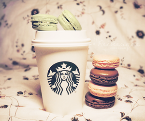 starbucks, coffee, and macarons image
