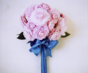 bouquet, flowers, and ribbon image