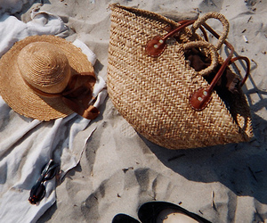 bag, hat, and beach image