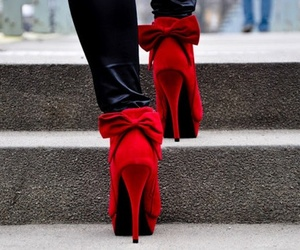 red, shoes, and heels image