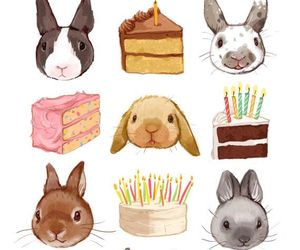 bunny, rabbit, and cake image