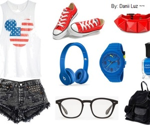 backpack, clothes, and glasses image
