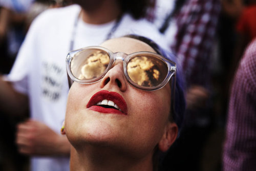 red, sunglasses, and clouds image