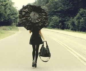 black, girl, and umbrella image