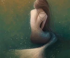 fairytale, illustration, and mermaid art image