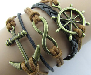 infinity, anchor bracelet, and braided leather image