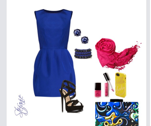 cobalt blue, outfit, and Polyvore image