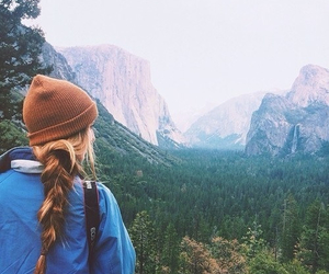 beanie, hair, and mountains image