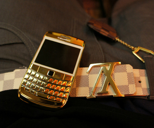 blackberry, gold, and Louis Vuitton image