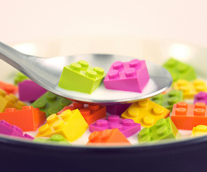 lego, milk, and cereal image