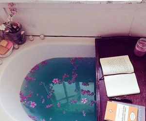 book, flowers, and bath image