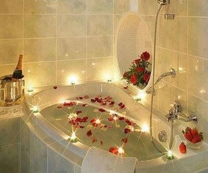 rose, romantic, and bath image