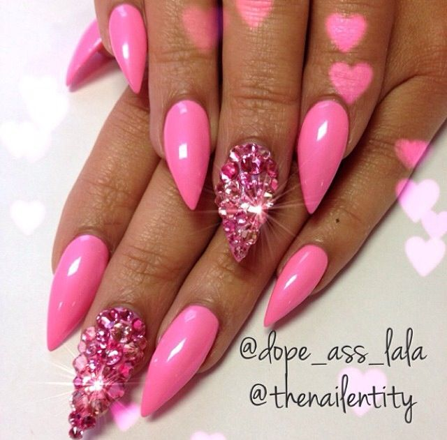 Attractive Pink Acrylic Stiletto Nails Frieze - Nail Art Design ...