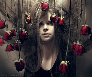 hair, rose, and dark image