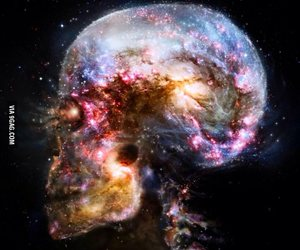 galaxy, skull, and mind image