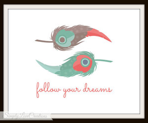 dreams, home decor, and feather print image