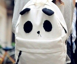 bag, girl, and panda image