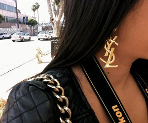 YSL, earrings, and gold image