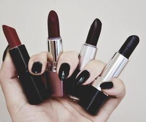 lipstick, black, and nails image