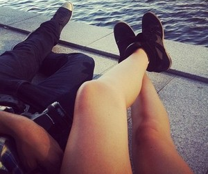 love, couple, and legs image