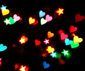 stars, hearts, and black image