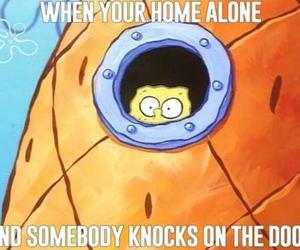 funny, spongebob, and alone image
