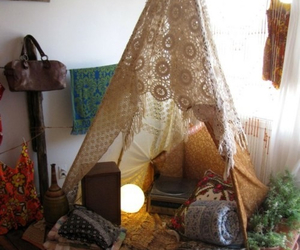 hippie, room, and tent image