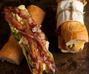 food, bacon, and sandwich image