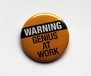Warning Genius At Work or Coffee Magnet by BayleafButtons on Etsy
