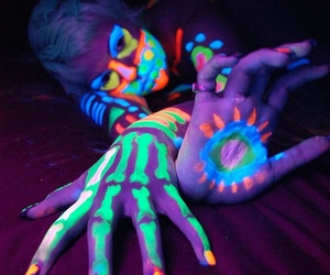 body paint, black light paint, and luminosity image