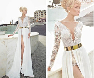long sleeve dress, white prom dress, and lace prom dress image