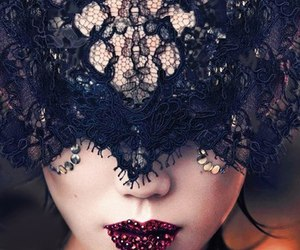 black, lace, and lips image