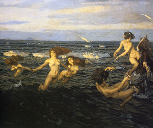 ocean, painting, and sirens image