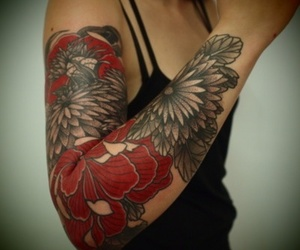 arm tattoo, red, and inked image