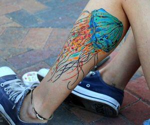watercolor tattoo, coloured tattoo, and jellyfish tattoo image