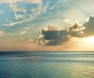 beach, clouds, and ocean image