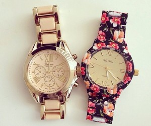 flowers, watch, and gold image