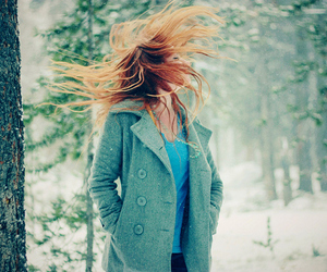 coat, forest, and girl image