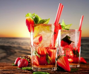 beach, strawberry, and drink image